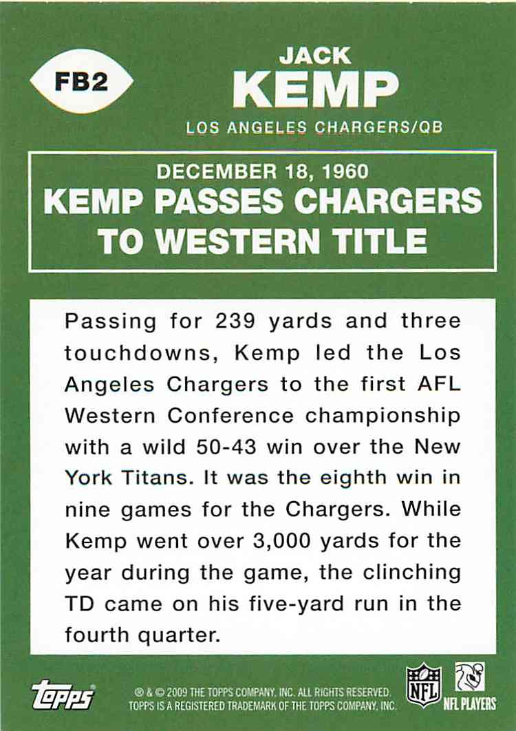 2009 Topps Jack Kemp #FB2 card back image