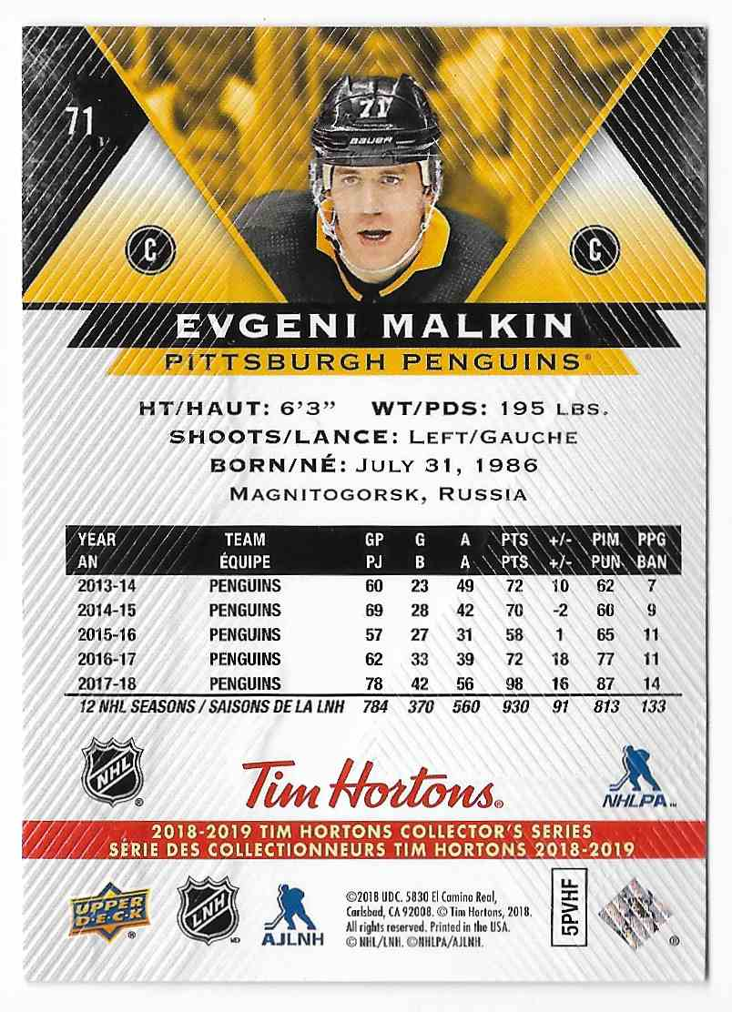 2018-19 Upper Deck Tim Hortons Evgeni Malkin #71 card back image