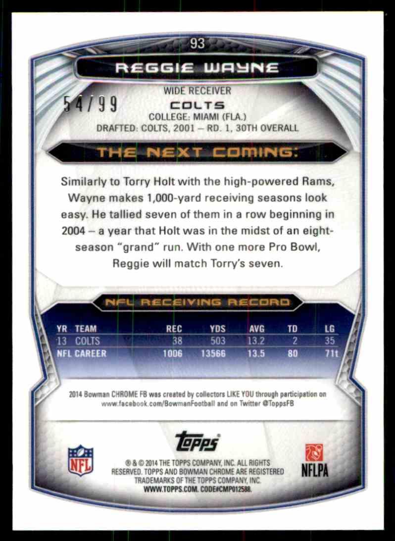 2014 Bowman Chrome Reggie Wayne card back image