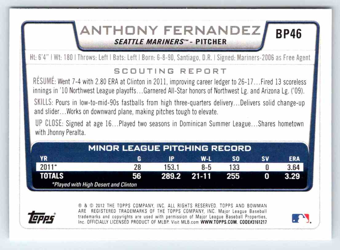 2012 Bowman Prospects Anthony Fernandez #BP46 card back image