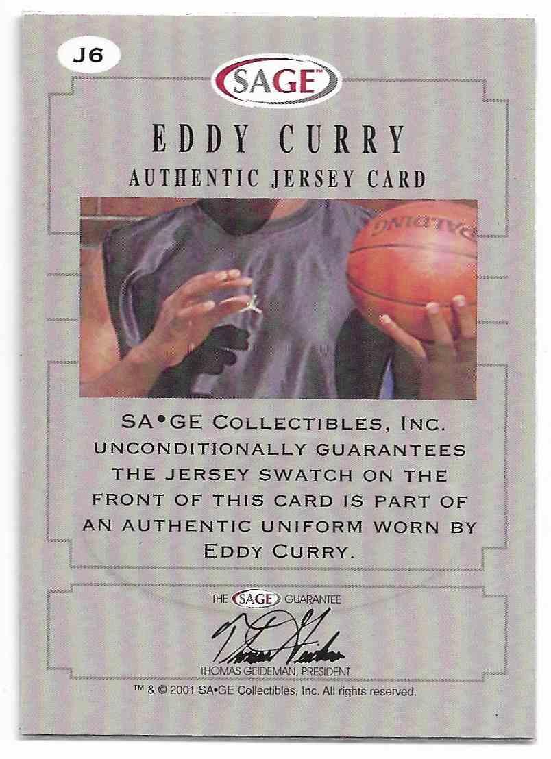 2001-02 Sage Eddy Curry #J6 card back image