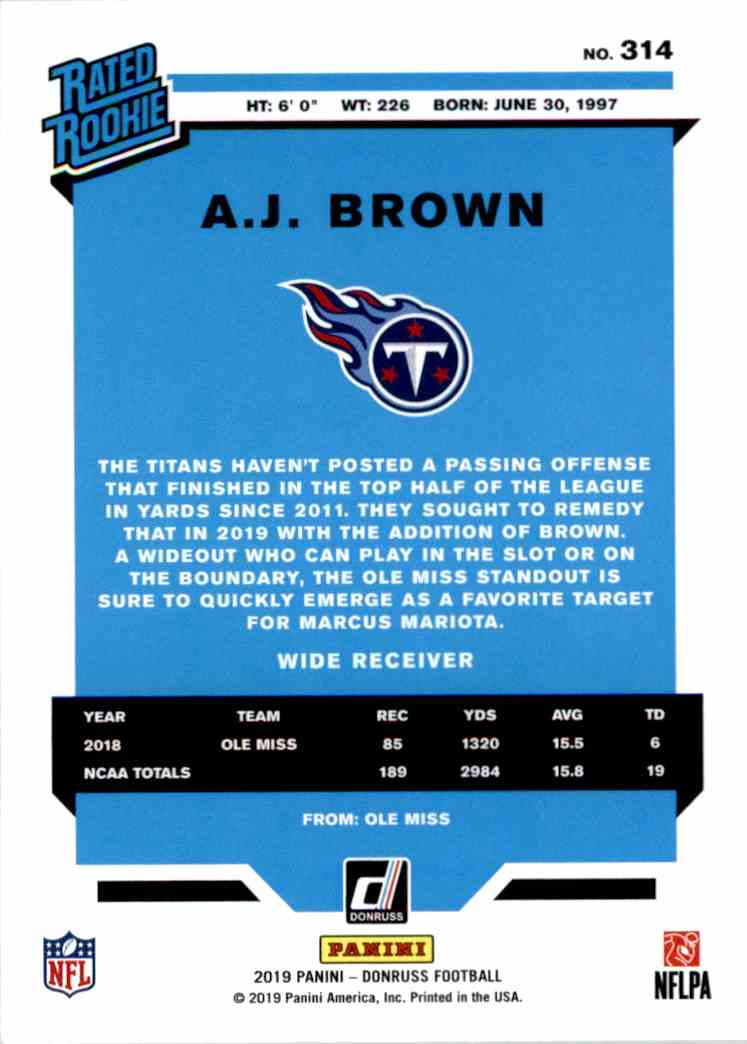 2019 Panini Donruss Rated Rookie A.J. Brown #314 card back image