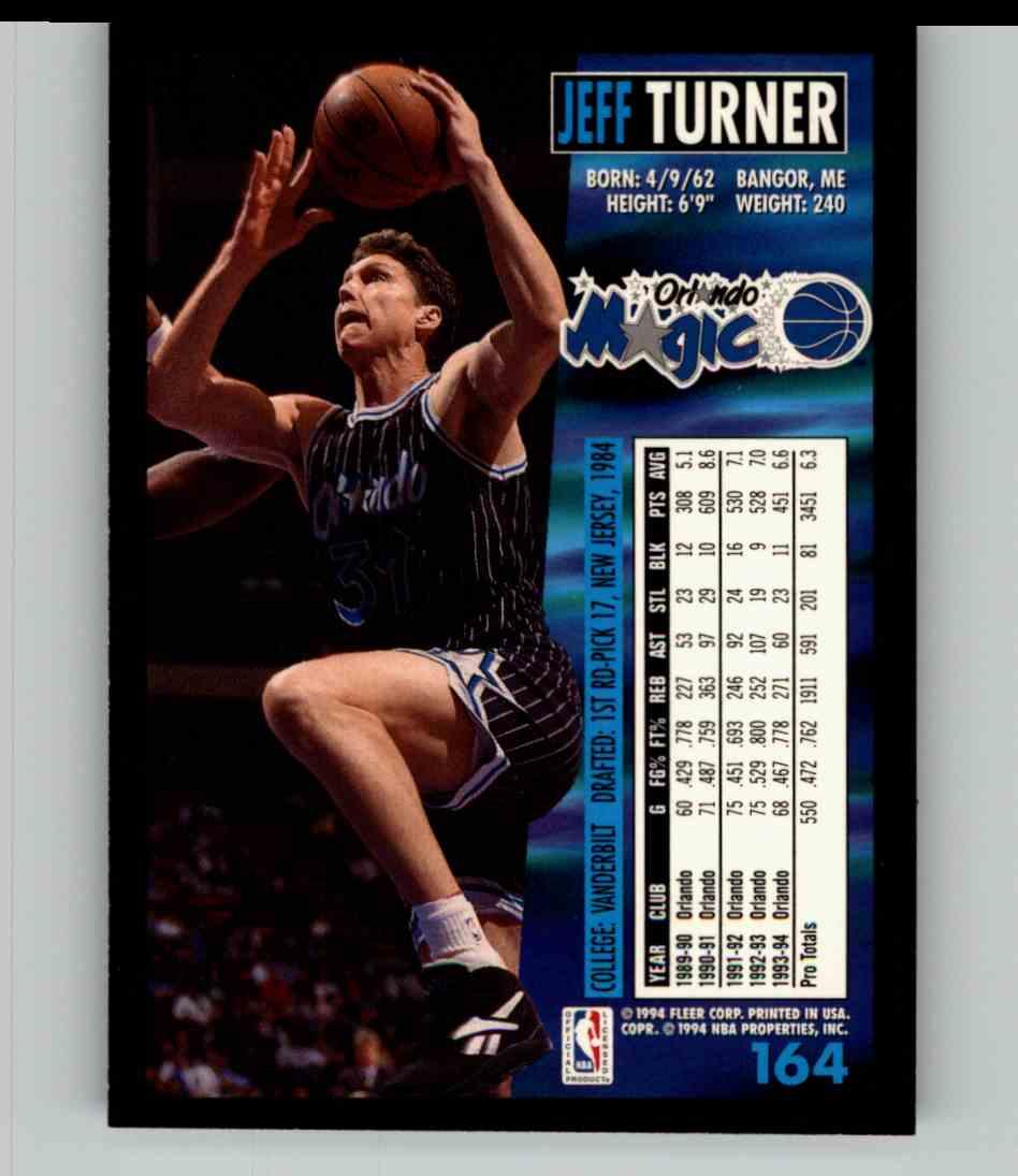 1994-95 Fleer Jeff Turner #164 card back image