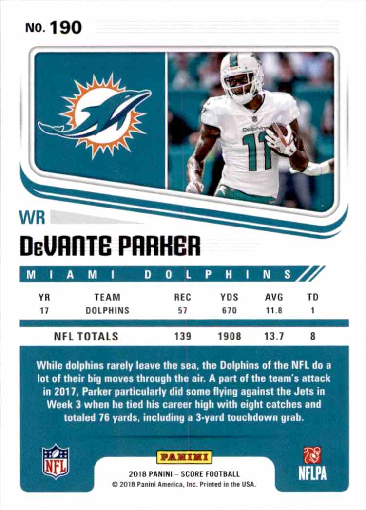2018 Panini Score DeVante Parker #190 card back image