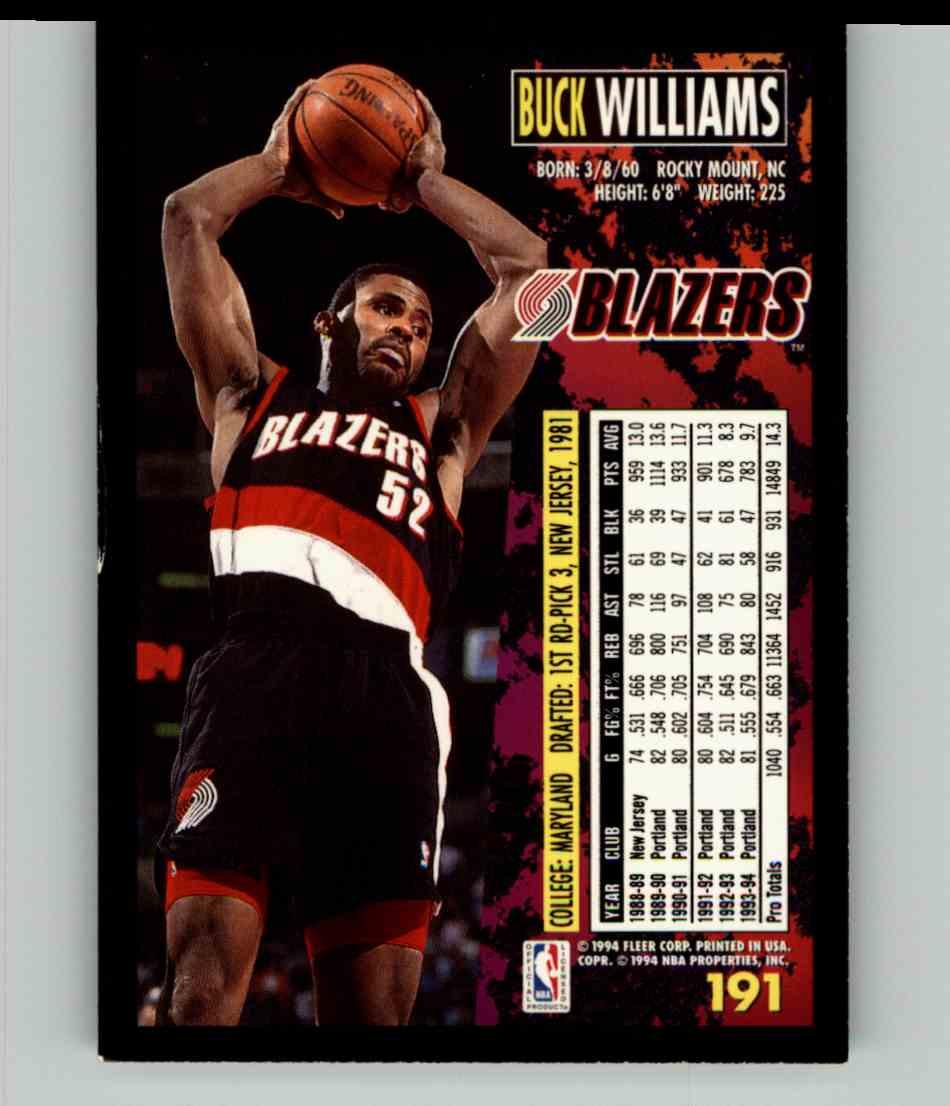 1994-95 Fleer Buck Williams #191 card back image