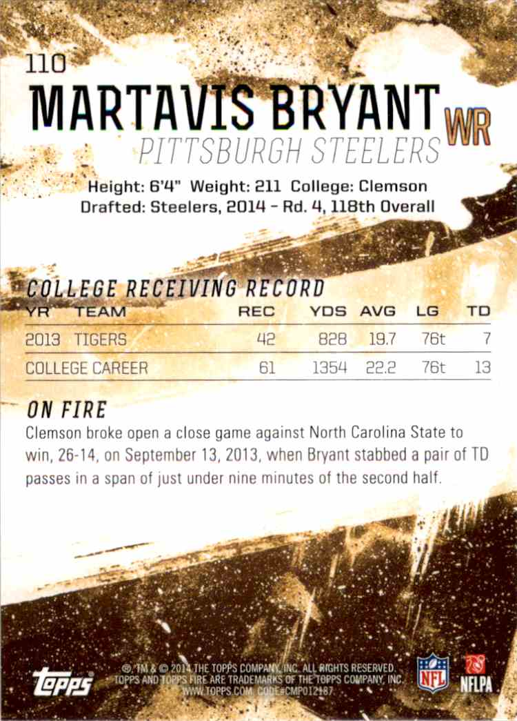 2014 Topps Fire Martavis Bryant RC #110 card back image