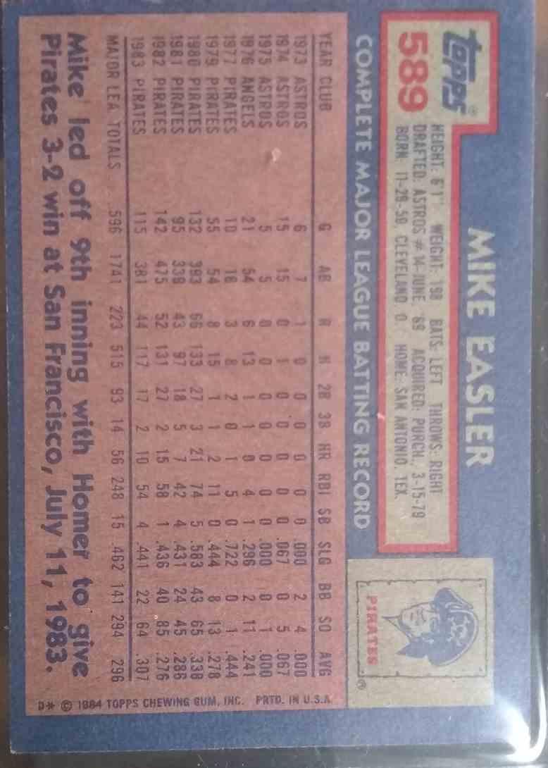 1984 Topps Mike Easler #589 card back image