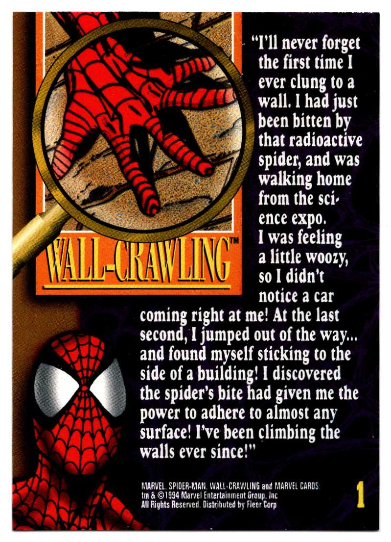 1994 Amazing Spider-Man Wall-Crawling Powers #1 card back image