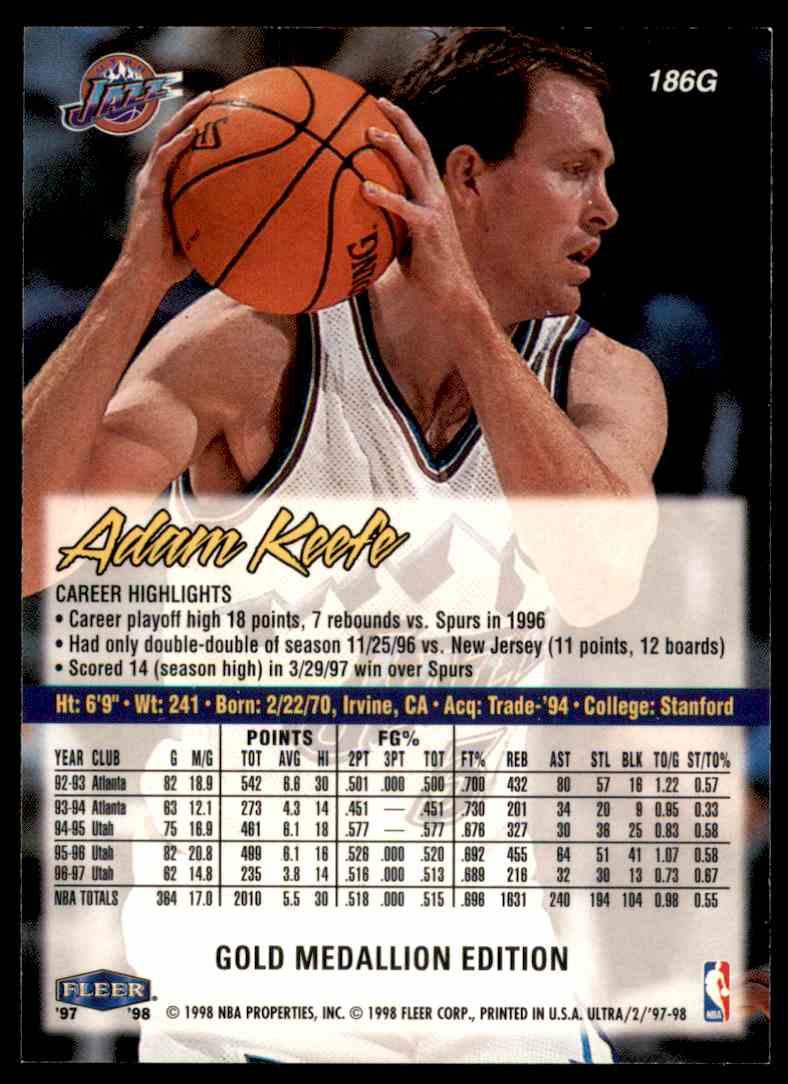1997-98 Ultra Gold Medallion Adam Keefe #186 card back image