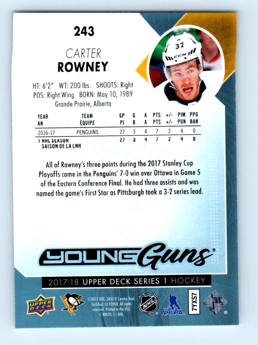 2017-18 Upper Deck Young Guns Carter Rowney #243 card back image