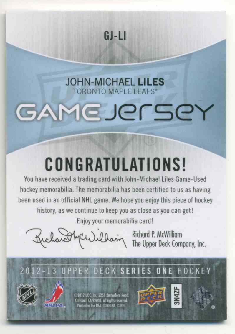 2012-13 Upper Deck Game Jersery John-Michael Liles #GJ-LI card back image
