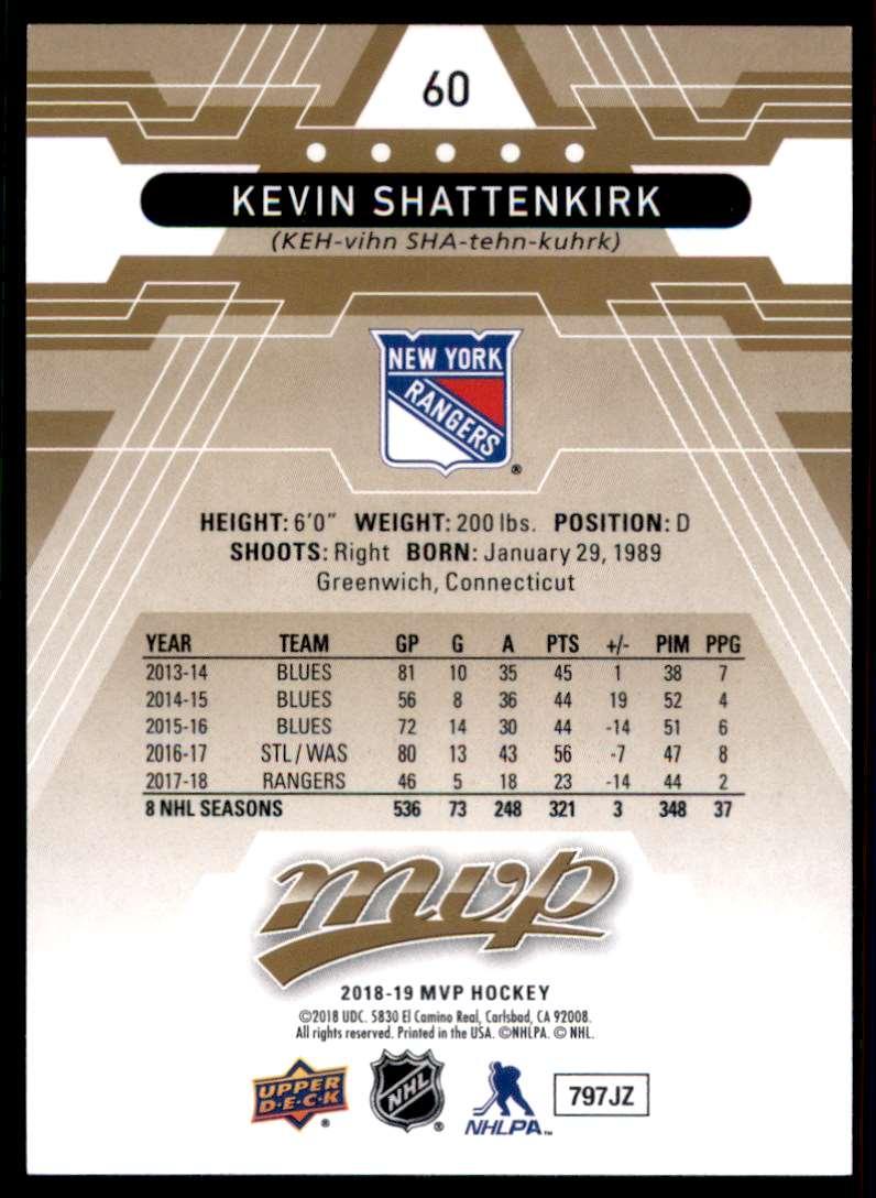 2018-19 Upper Deck MVP Kevin Shattenkirk #60 card back image
