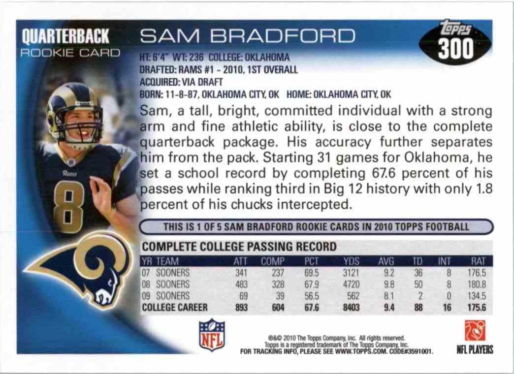 2010 Topps Sam Bradford #300 card back image