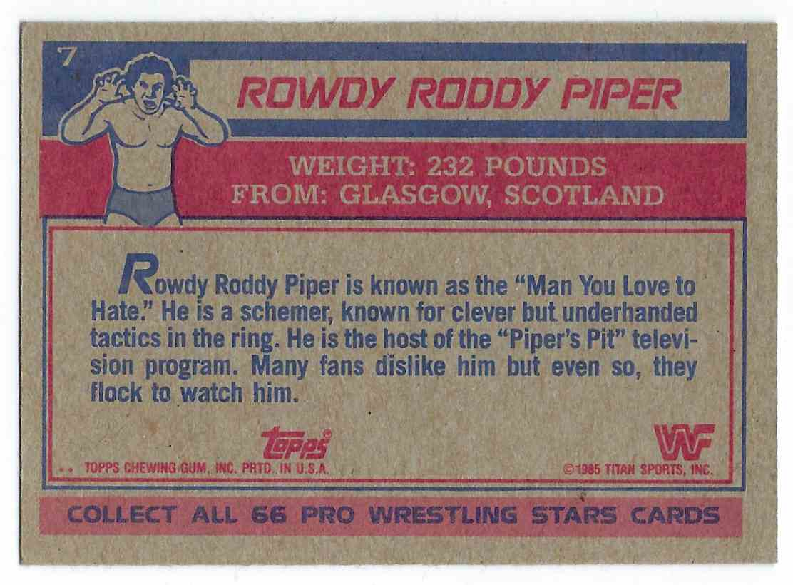 1985 Topps WWF Pro Wrestling Stars Rowdy Roddy Piper #7 card back image