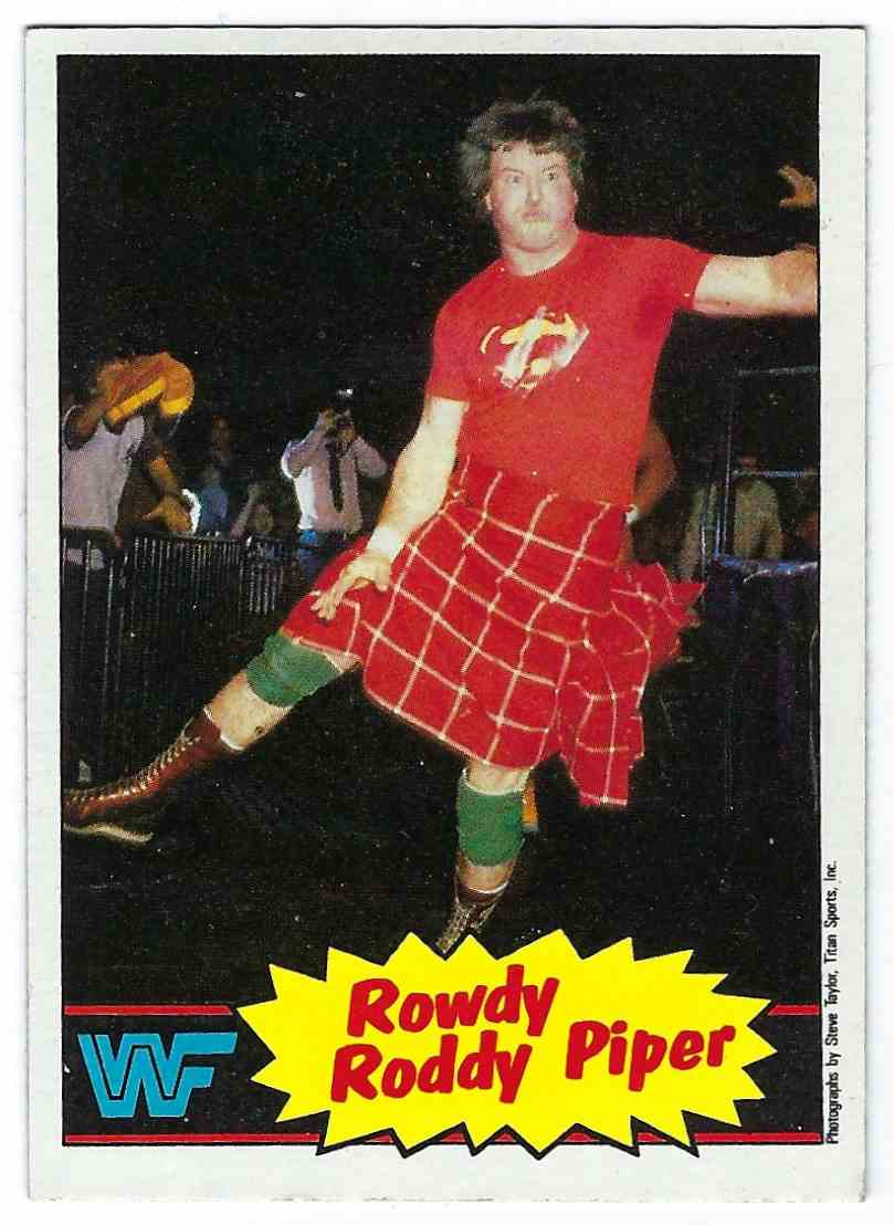 1985 Topps WWF Pro Wrestling Stars Rowdy Roddy Piper #7 card front image