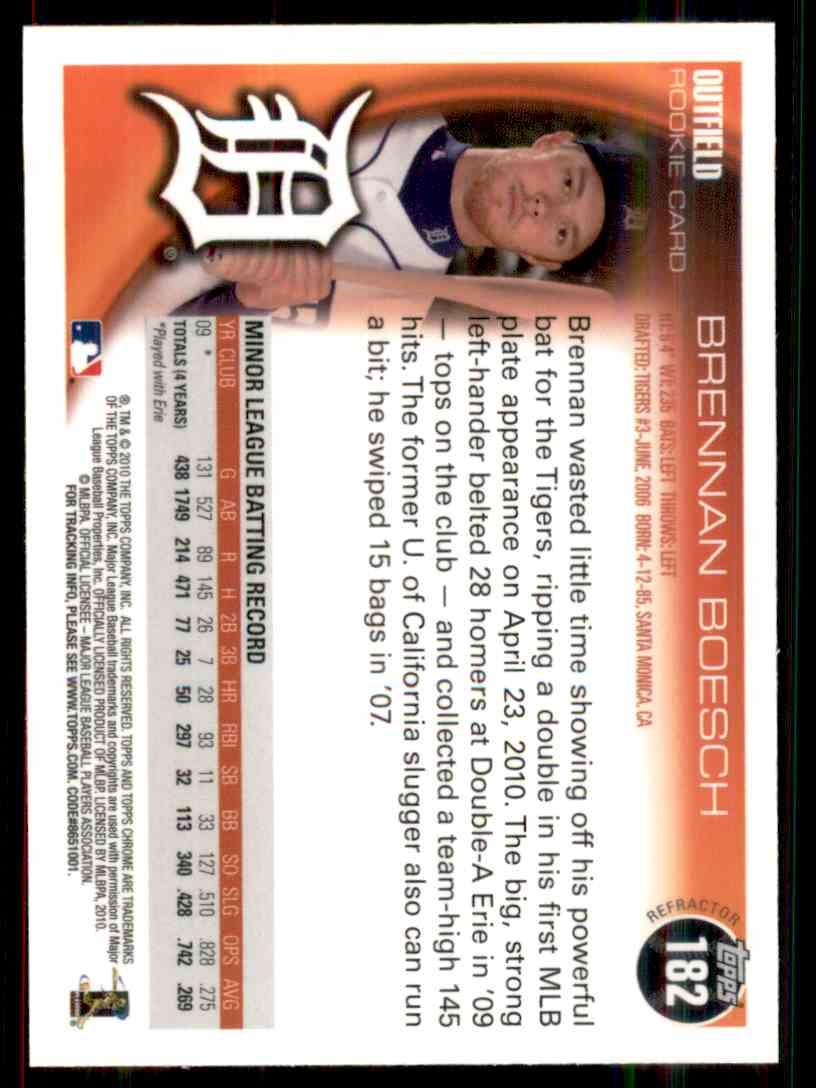 2010 Topps Chrome Orange Refractor Brennan Boesch #182 card back image