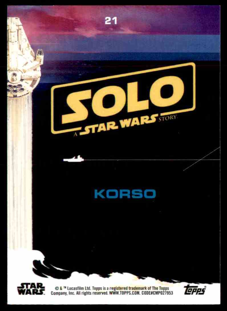 2018 Topps Solo: A Star Wars Story Korso #21 card back image
