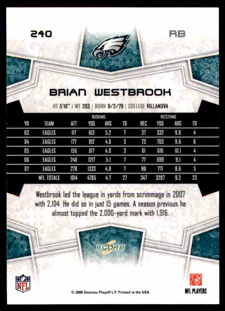 2008 Score Brian Westbrook #240 card back image