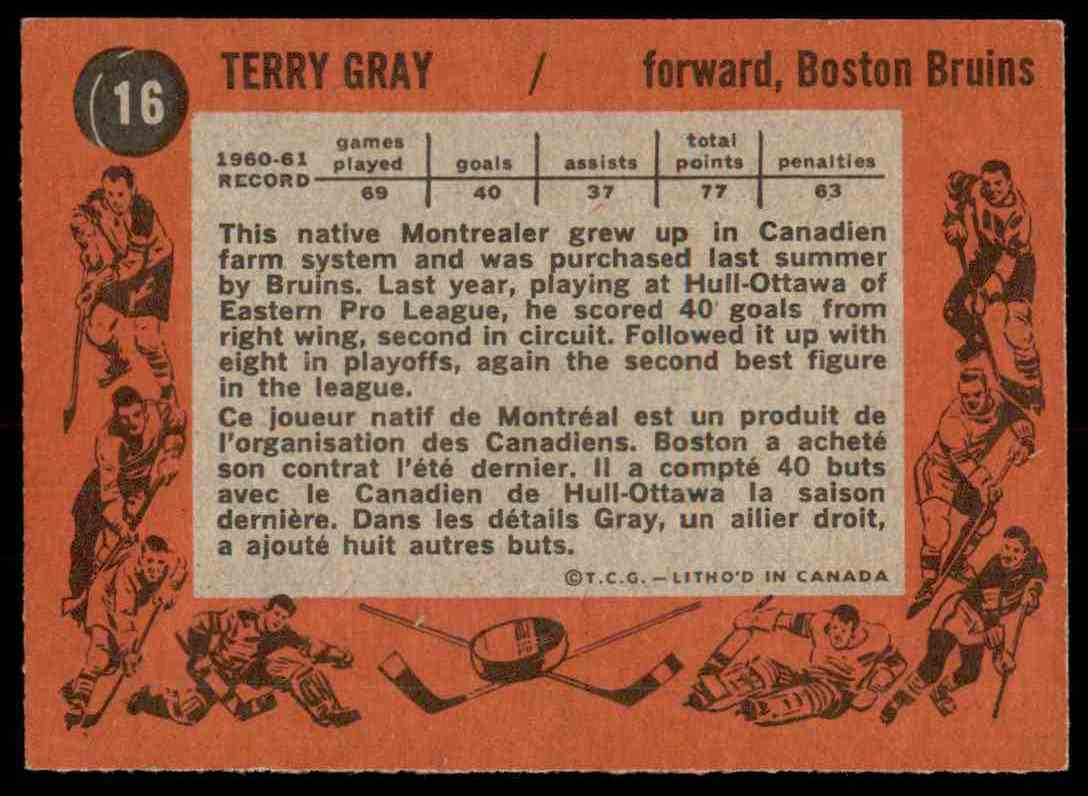 1961-62 Topps Terry Gray #16 card back image
