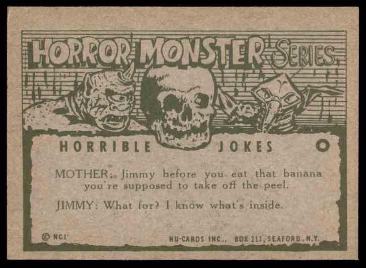 1961 Nu-Cards Horror Monstor Orange Let Hurts Put You In The Drivers