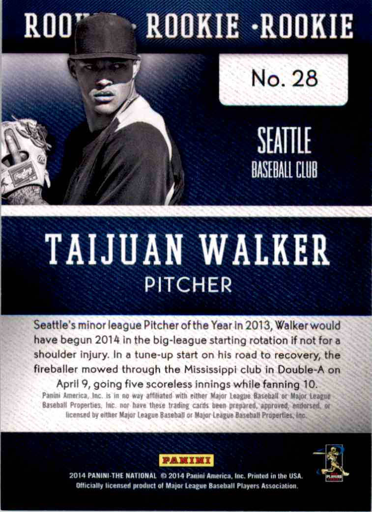 2014 Panini National Convention Taijuan Walker #28 card back image