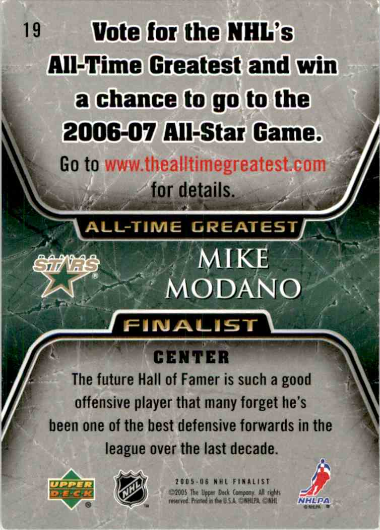 2005-06 Upper Deck All-Time Greatest Mike Modano #19 card back image