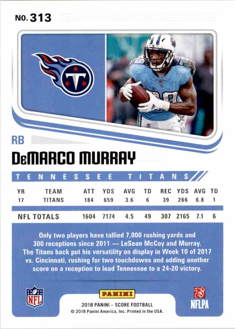 2018 Panini Score DeMarco Murray #313 card back image