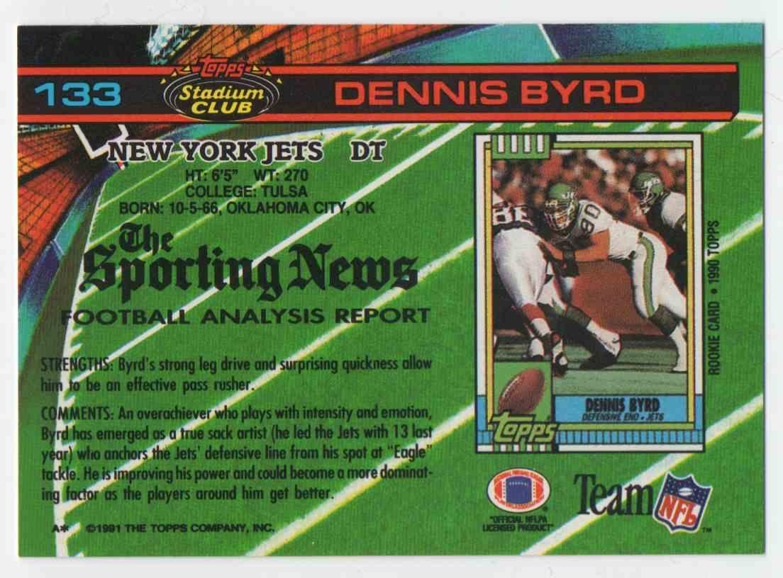 1991 Stadium Club Dennis Byrd #133 card back image