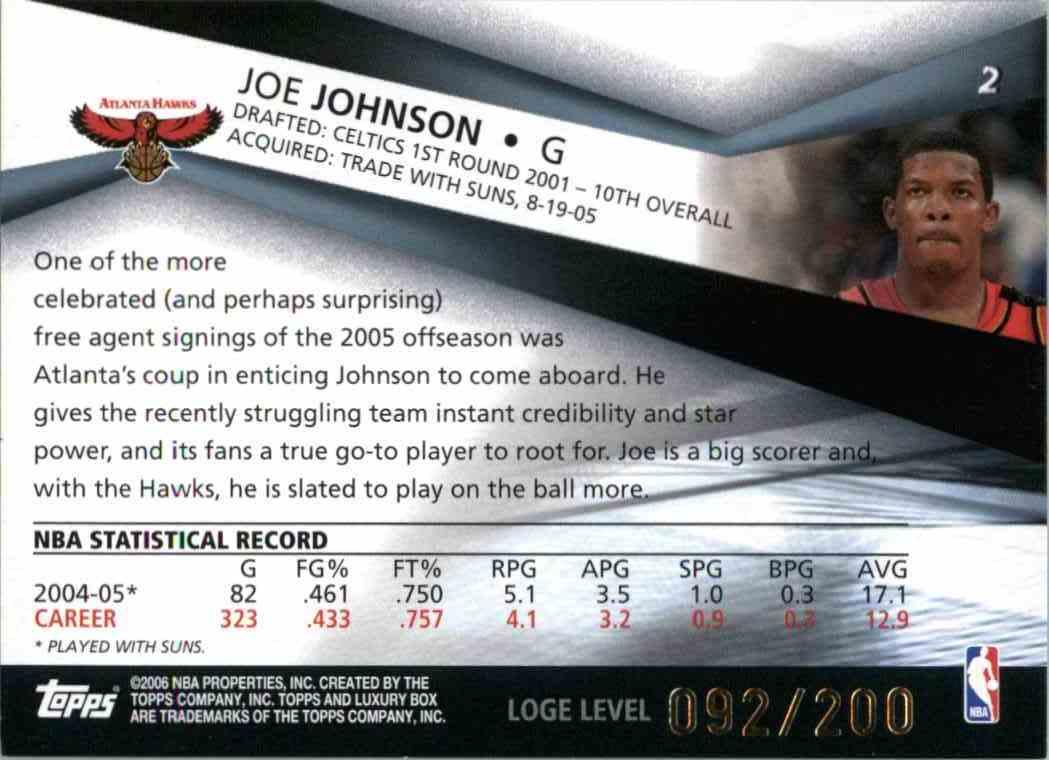 2006-07 Topps Luxury Box Joe Johnson #2 card back image