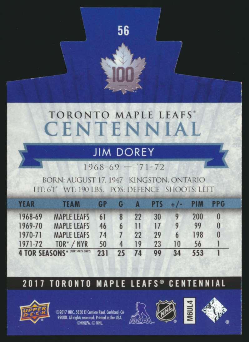 2017-18 UD Maple Leafs Centennial Die Cut Jim Korey #56 card back image