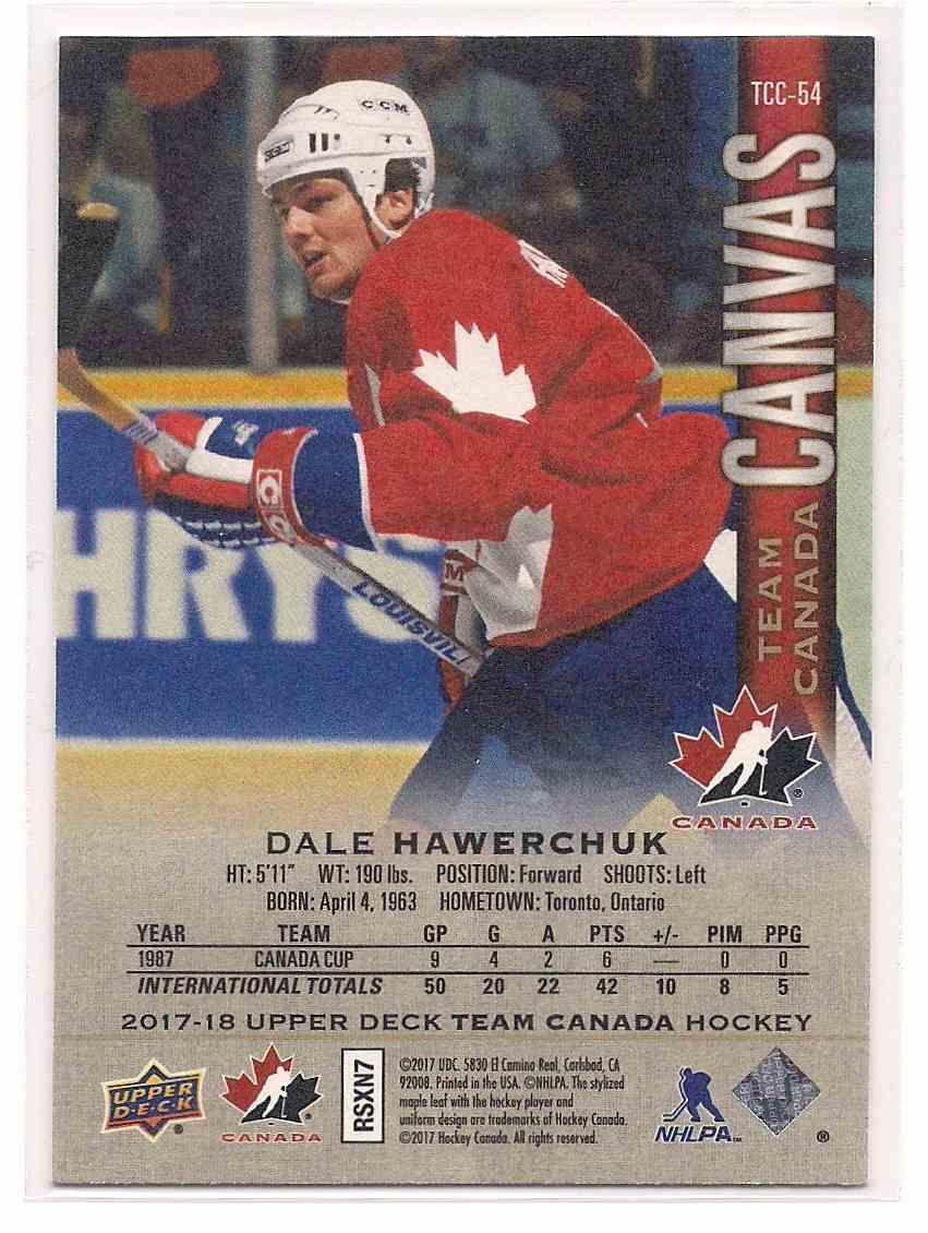 2017-18 Upper Deck Team Canada Canvas Dale Hawerchuk #TCC-54 card back image