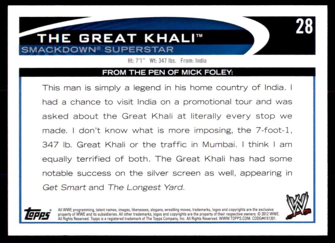 2012 Topps Wwe The Great Khali #28 card back image