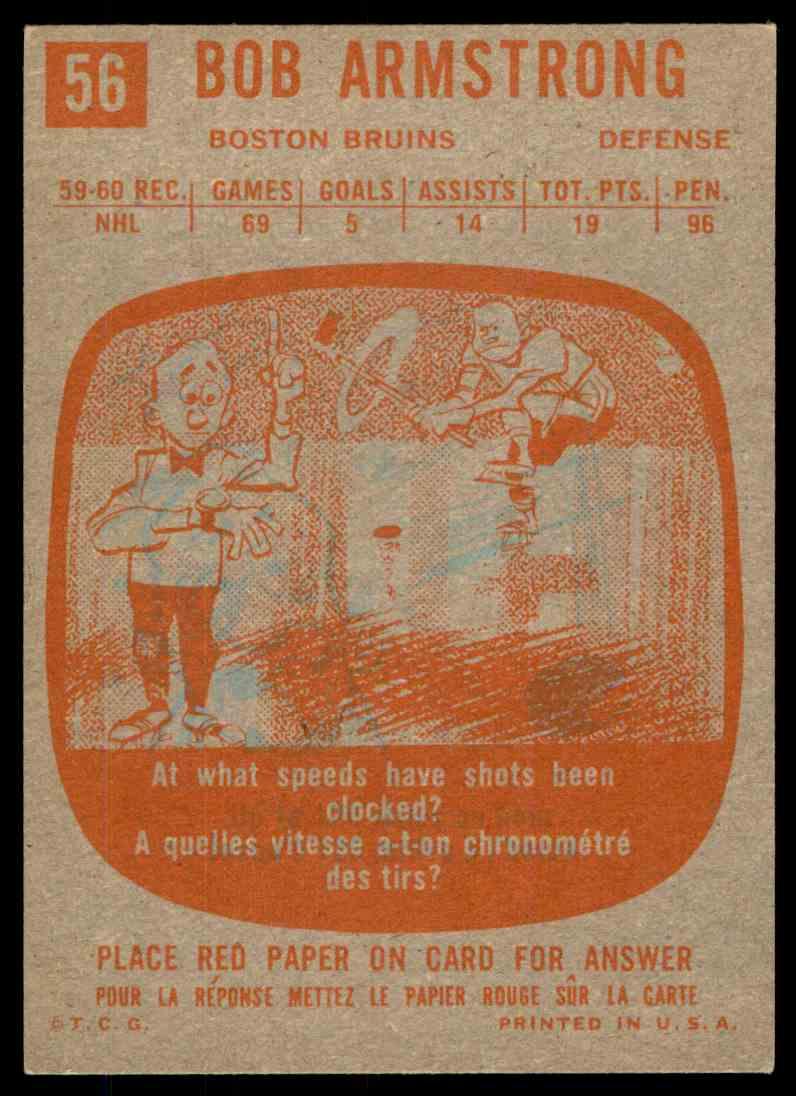 1960-61 Topps Bob Armstrong #56 card back image