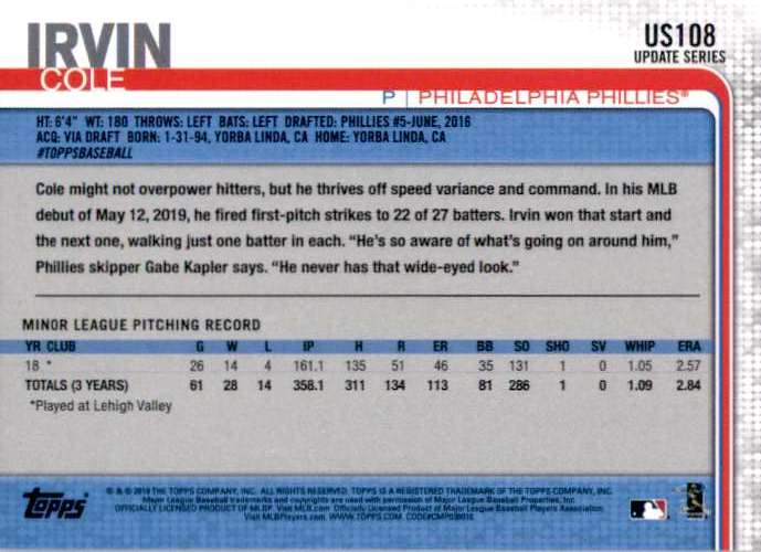2019 Topps Update Cole Irvin RC #US108 card back image