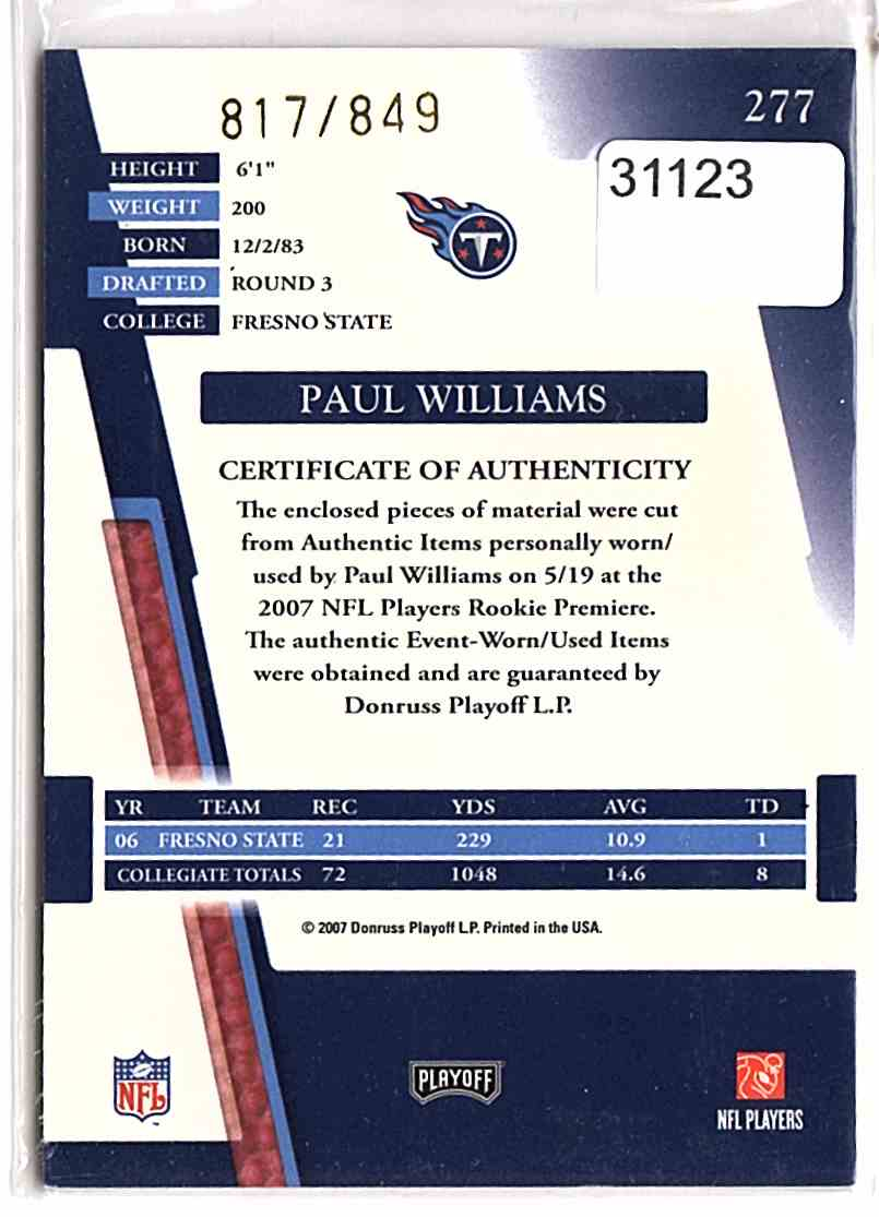 2007 Absolute Memorabilia Paul Williams Rpm #277 card back image