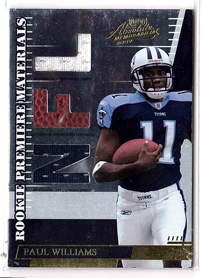 2007 Absolute Memorabilia Paul Williams Rpm #277 card front image