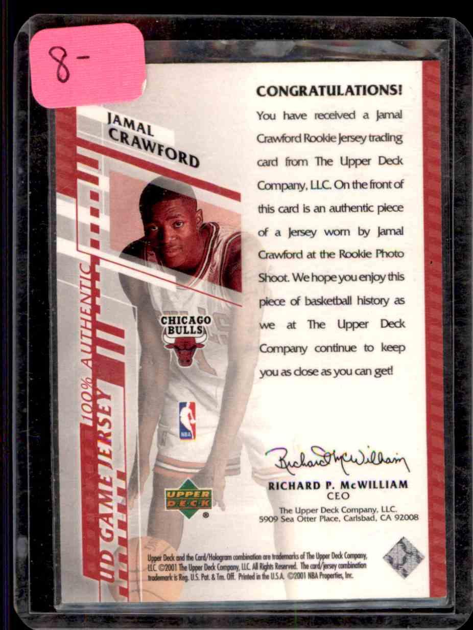 2000-01 Upper Deck Game Jerseys Jamal Crawford #JCH card back image