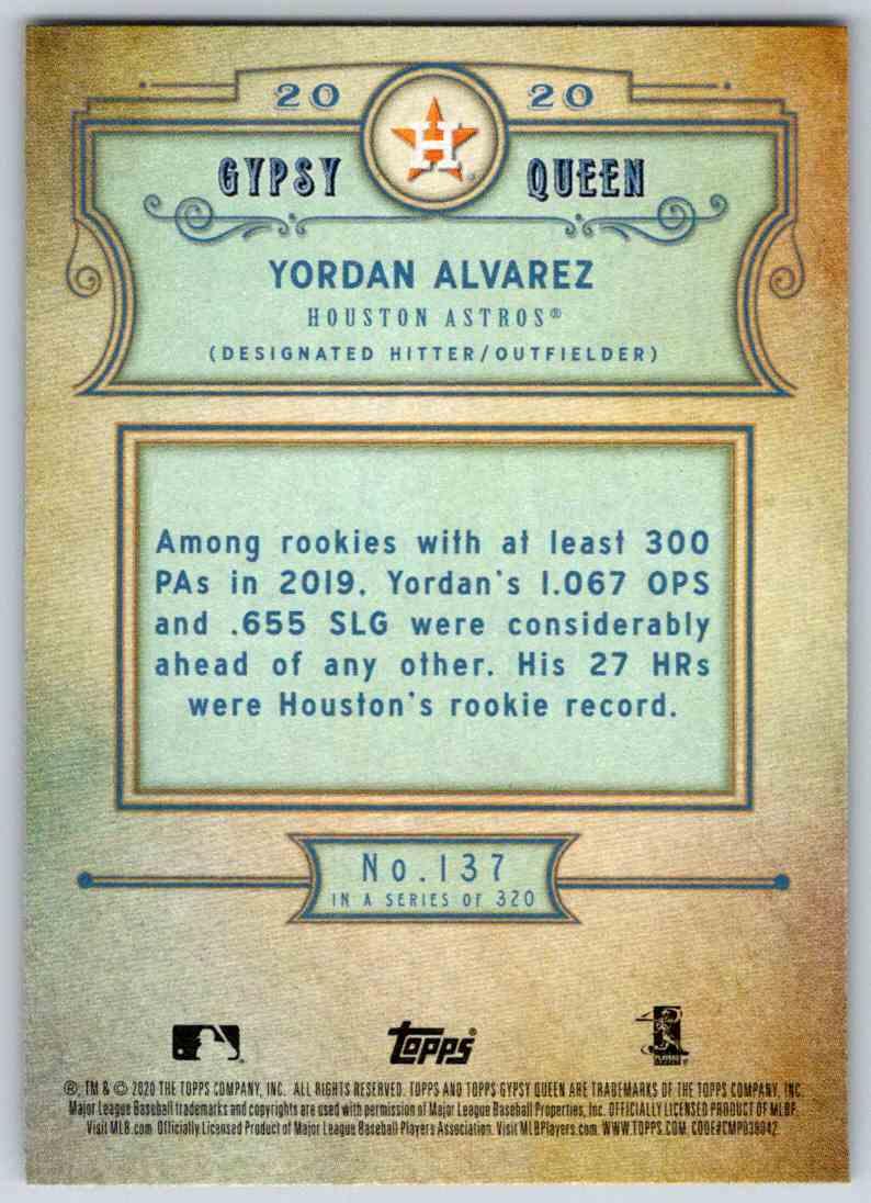 2020 Topps Gypsy Queen Base Yordan Alvarez #137 card back image
