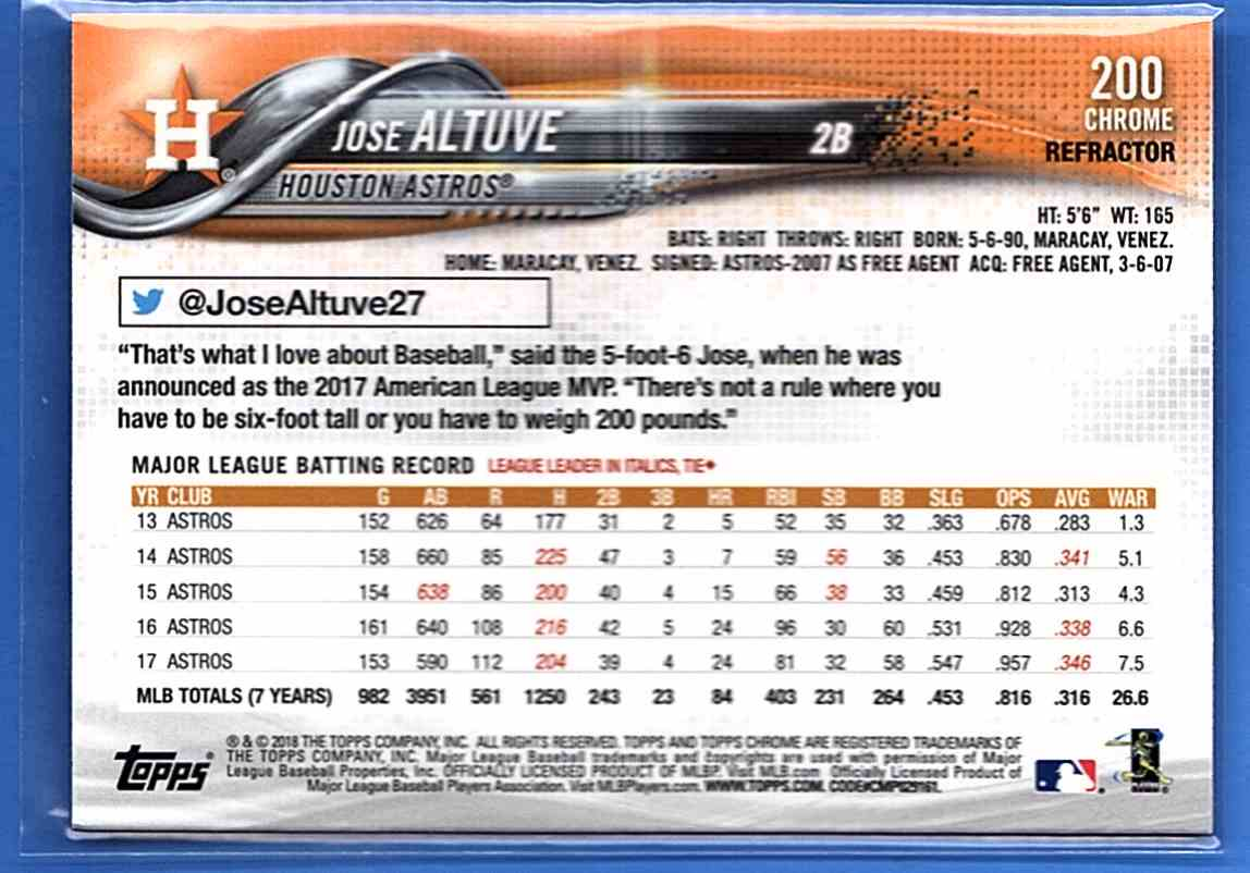 2018 Topps Chrome Sepia Refractors Jose Altuve #200 card back image