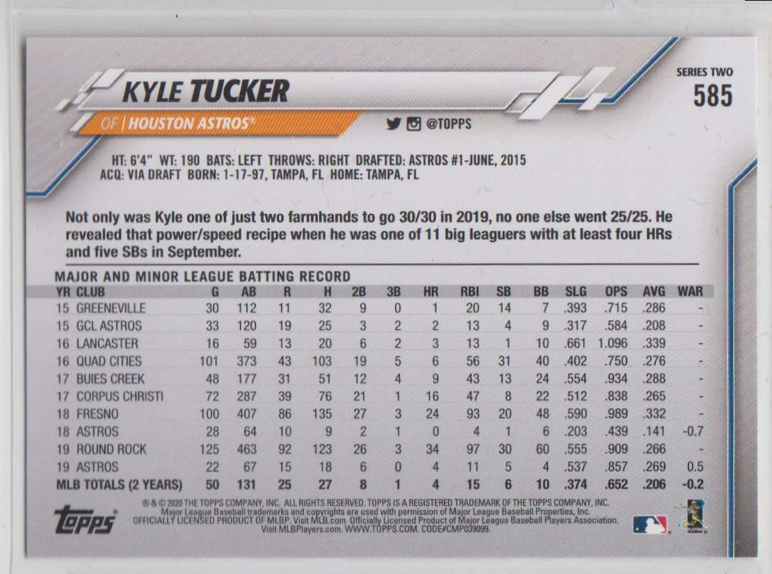 2020 Topps Kyle Tucker #585 card back image