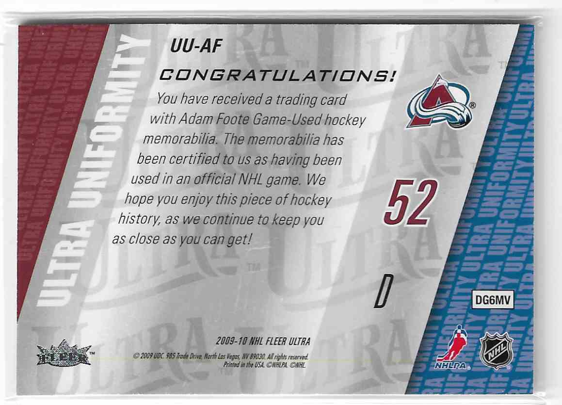 2009-10 Fleer Ultra Ultra Uniformity Adam Foote #UU-AF card back image