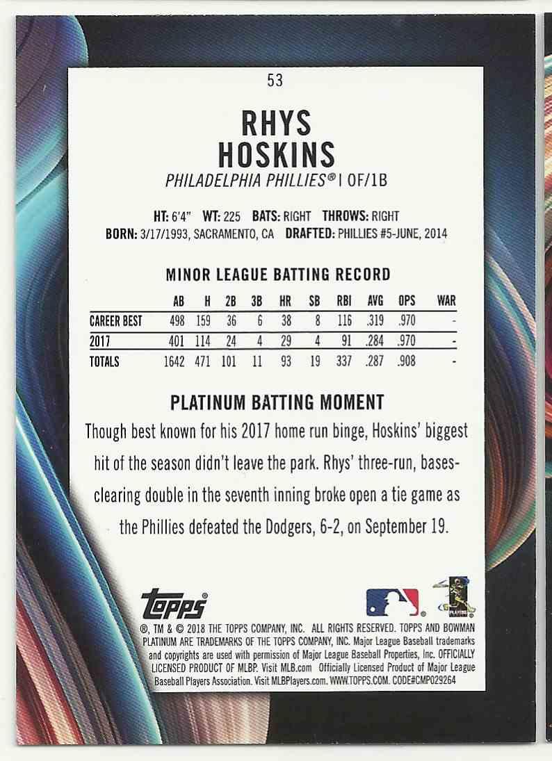 2018 Bowman Platinum Rhys Hoskins #53 card back image