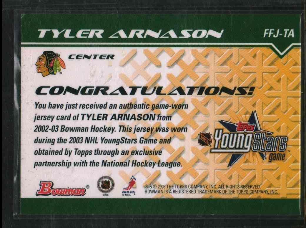 2002-03 Topps Young Star Tyler Arnason #FFJ-TA card back image