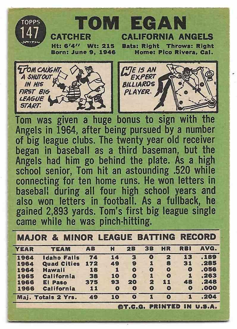 1967 Topps Tom Egan #147 card back image