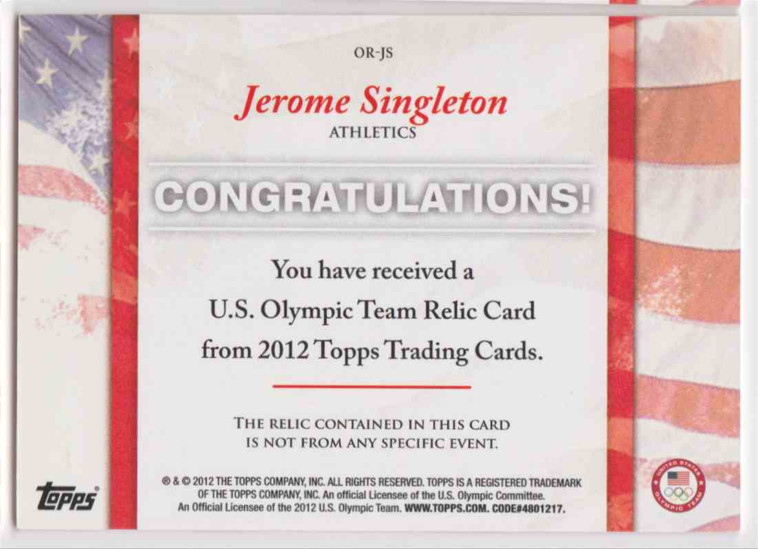 2012 Topps U.S. Olympic Team Relic Jerome Singleton #OR-JS card back image