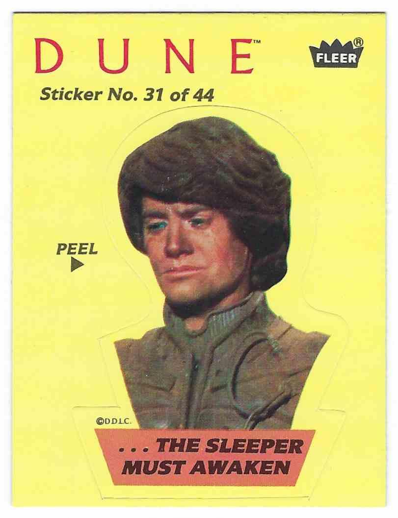 1984 Fleer Dune Sticker ...The Sleeper Must Awaken #31 card front image