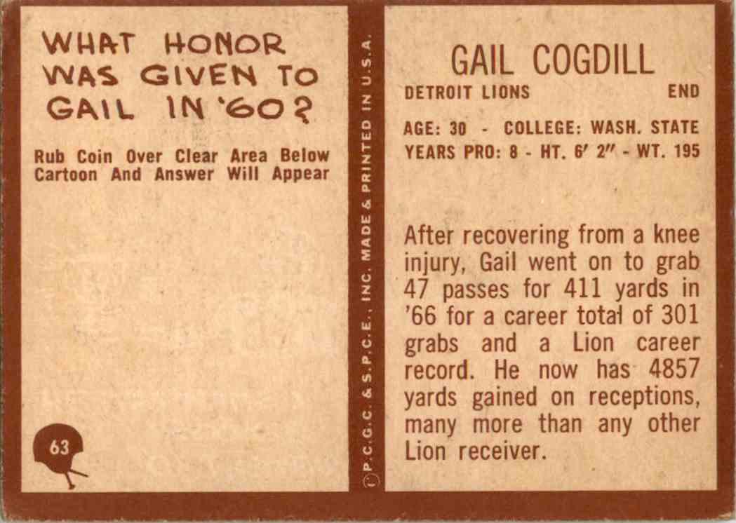 1967 Philadelphia Gail Cogdill #63 card back image