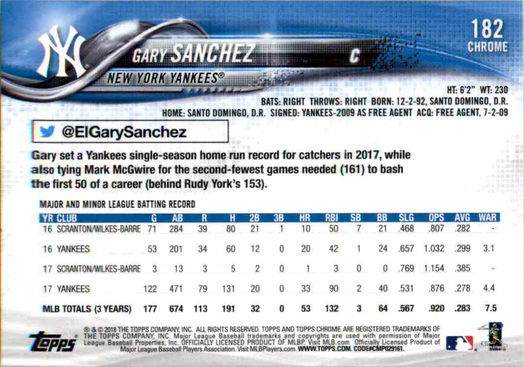 2018 Topps Chrome Gary Sanchez #182 card back image
