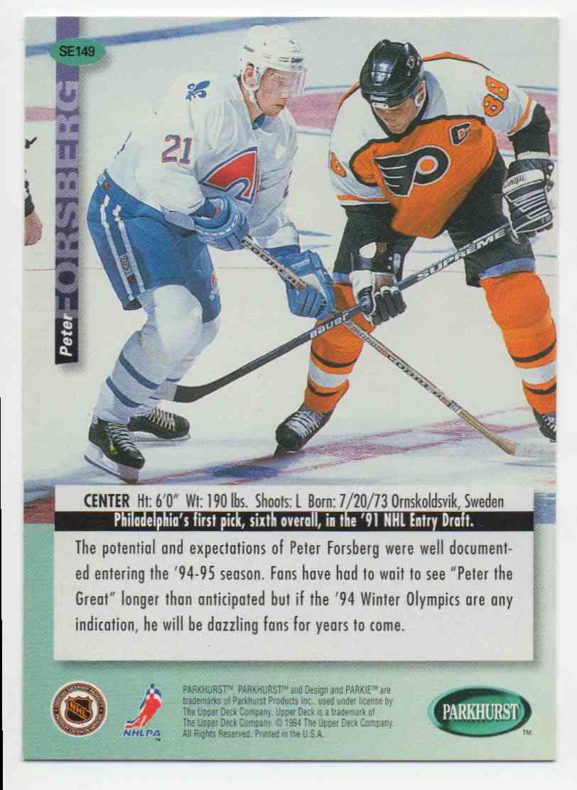 1994-95 Parkhurst Se Peter Forsberg #SE149 card back image