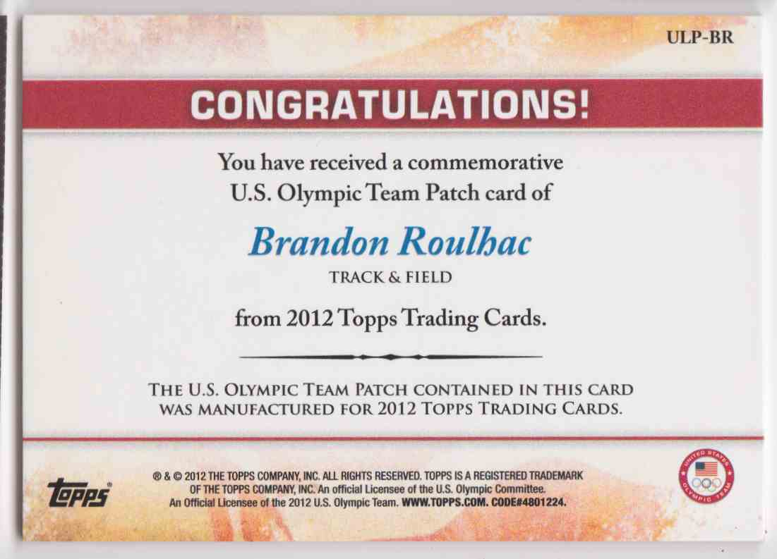 2012 Topps Commemorative U.S. Olympic Team Patch Brandon Roulhac #ULP-BR card back image